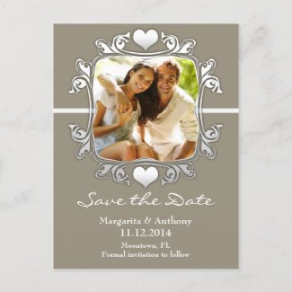 modern stylish photo save the date postcards