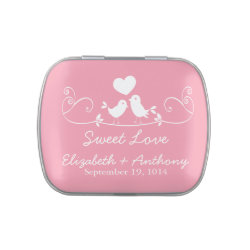 Modern Sweet Love Birds Wedding Favor Candy Jelly Belly Candy Tin