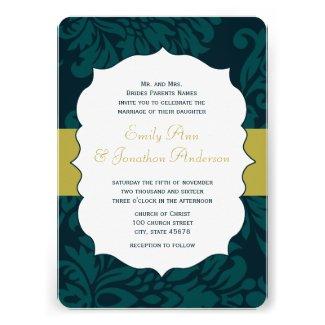 Modern Teal Aqua and Lime Damask Wedding Invite