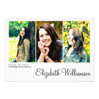 Modern Three Photo Graduation Party Invitation