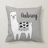 Modern Trendy Black & White Aztec Llama Throw Pillow