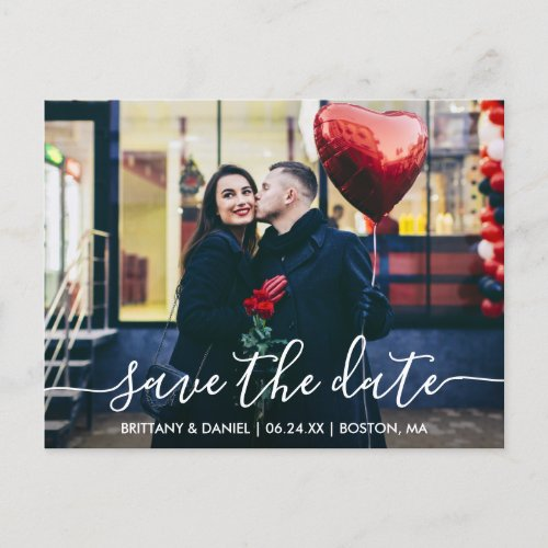 Modern Trendy Script Photo Save The Date Postcard