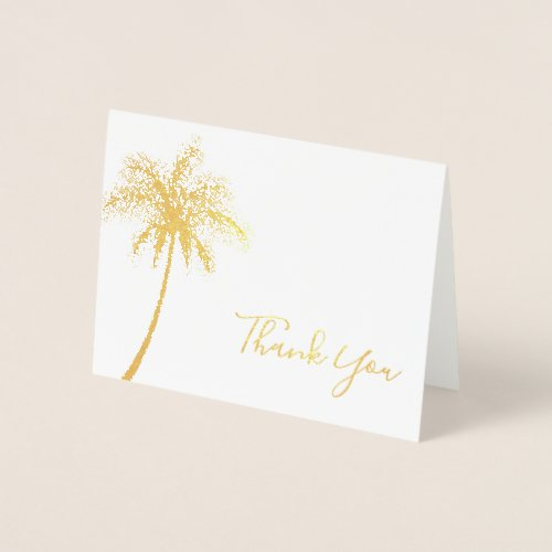 Modern Tropical Palm Tree Thank You Foil Card