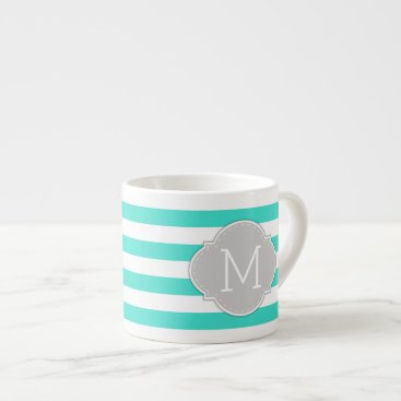 Modern Turquoise and White Stripes with Mongoram Espresso Cup