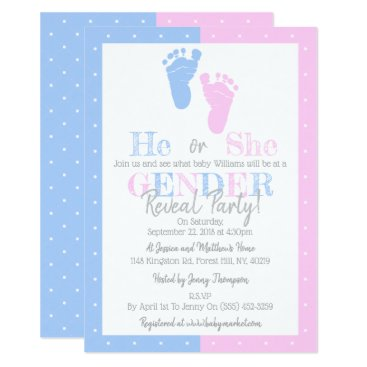 Modern Typography Gender Reveal Party! Baby Shower Invitation