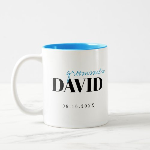 Modern Typography Personalized Groomsmen Mug