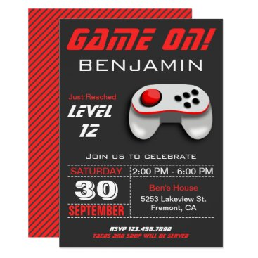 Modern Video Game Red Kids Birthday Party Invite