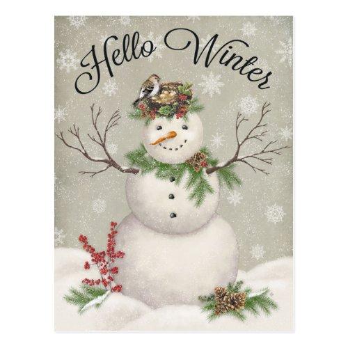 modern vintage winter garden snowman postcard