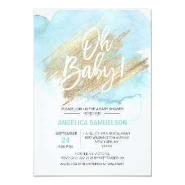 "Modern Watercolor Blue Gold Oh Baby Shower 3.5x5"" Invitation"