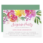Modern Watercolor Floral Surprise Party Invitation