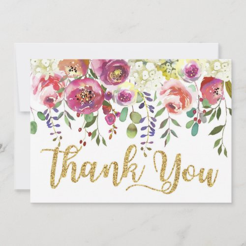Modern Watercolor Floral Thank You