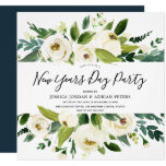 Modern White Florals Green New Years Day Party Invitation