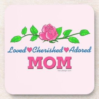 Mom Loved Cherished Adored Beverage Coaster