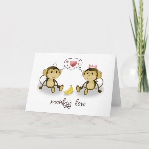 Monkey Love Valentine Greeting Card