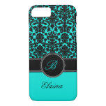 Monogram Aqua, Black, White Damask iPhone 7 Case