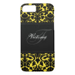 Monogram Black and Yellow Damask iPhone 7 Case