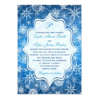 Monogram Blue and White Snowflakes Wedding Invite