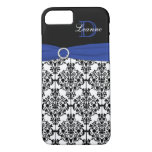 Monogram Blue Black White Damask iPhone 7 Case