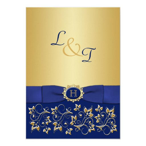 Monogram Blue, Gold Floral Scroll Wedding Invite