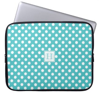 Monogram Blue With White Polka-Dots Laptop Sleeve