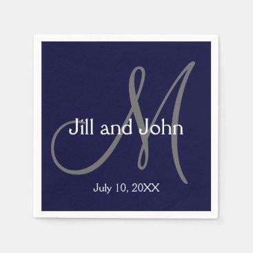 Monogram Bride Groom Date Wedding Paper Napkins