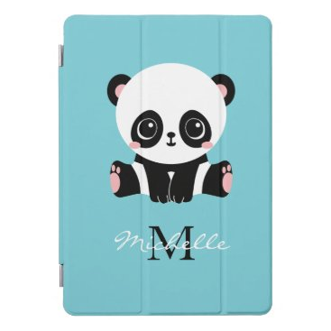 Monogram Cute Panda Personalized Bubble Gum Blue iPad Pro Cover