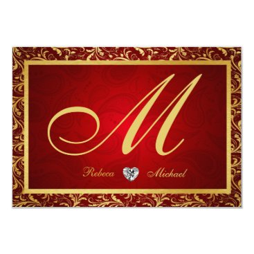 Monogram Damask Red / Gold RSVP Cards