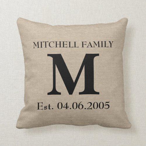Monogram faux linen burlap rustic initial wedding throw pillow