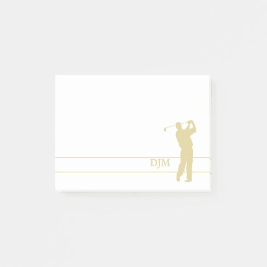 Monogram Gold Silhouette Golfer Post-it Notes