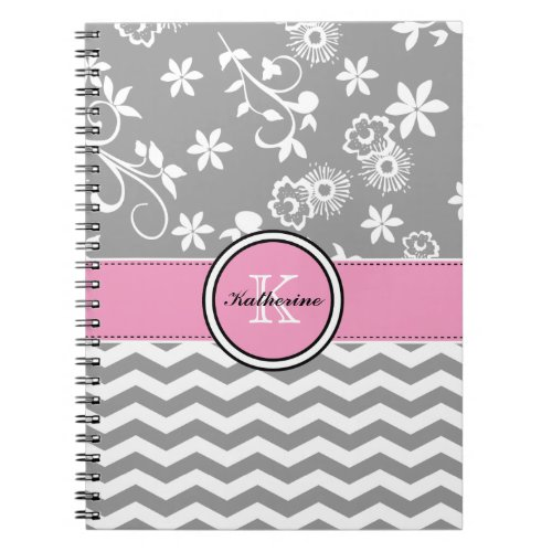 Monogram Gray Chevron Floral Pink Spiral Notebook