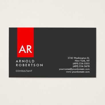Monogram Gray Red Modern Consultant Business Card