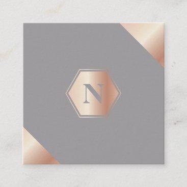 Monogram Modern GoldRose Square Business Card