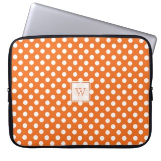 Monogram Orange And White Polka-Dots Laptop Sleeve