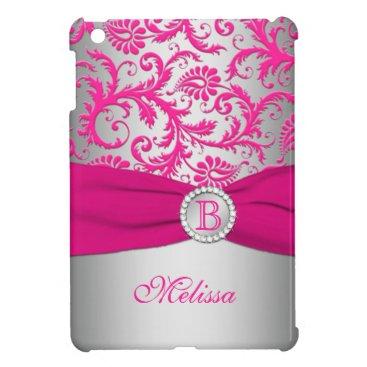 Monogram Pink and Silver Damask iPad Mini Case