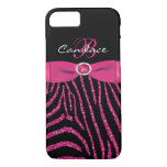 Monogram Pink, Black Glitter Zebra iPhone 7 Case