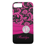 Monogram Pink Black Silver Damask iPhone 7 Case