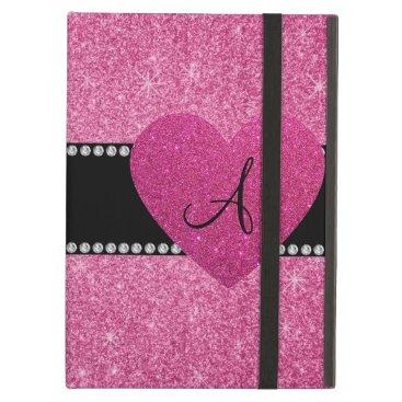 Monogram pink glitter pink heart iPad air cover