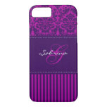 Monogram Pink, Purple Damask Stripe iPhone 7 Case
