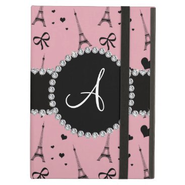 Monogram pretty pink eiffel tower pattern cover for iPad air