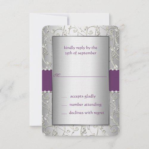 Monogram Purple and Silver Swirl Wedding RSVP Card