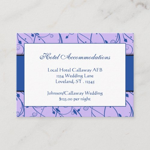 Monogram Royal Blue Lilac Floral Swirl Wedding Enclosure Card