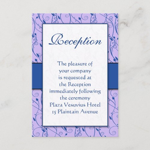 Monogram Royal Blue Lilac Swirl Wedding Enclosure Card