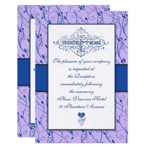 Monogram Royal Blue Lilac Swirl Wedding Reception Invitation