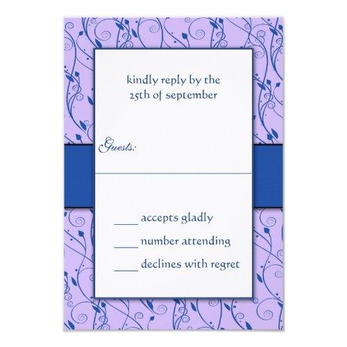 Monogram Royal Blue Lilac Swirl Wedding RSVP Invitation