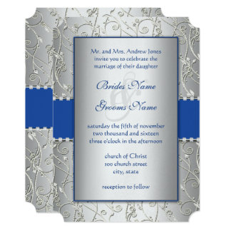 Royal Blue Silver Ornate Scrolls Wedding Invite