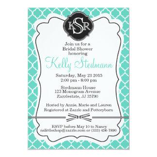 Monogram Tiffany Blue Bridal Shower Invitation