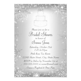 Monogram Wedding Cake Silver Bridal Shower Invite