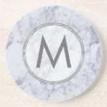 Monogram White And Gray Marble Stone Texture Sandstone Coaster