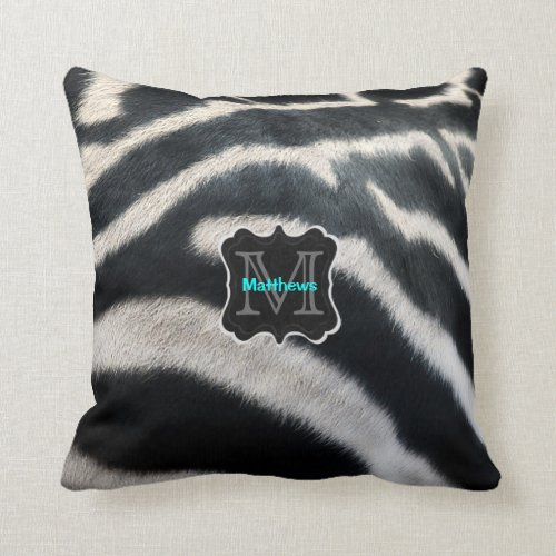 Monogram Zebra Photo Throw Pillow