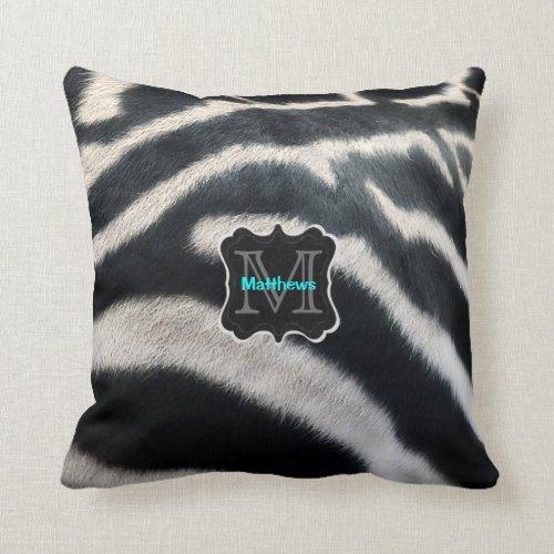 Monogram Zebra Photo Throw Pillow